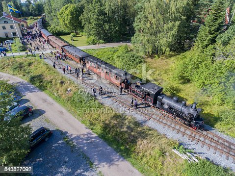 Hogwarts Express train in Marieland, Uppsala. The train belongs Upsala-Lenna Heritage Railway and was booked in august 2017 by Uppsalas Harry Potter fanclub.