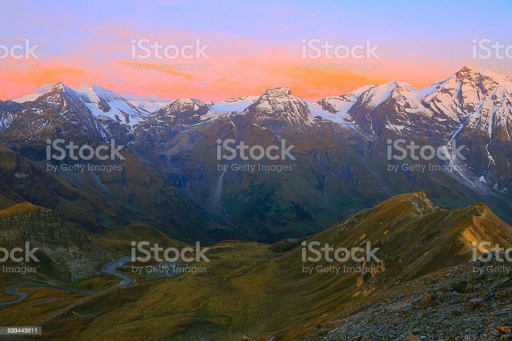 Hohe Tauern alpine at dramatic sunrise - Grossglockner, Austria stock photo