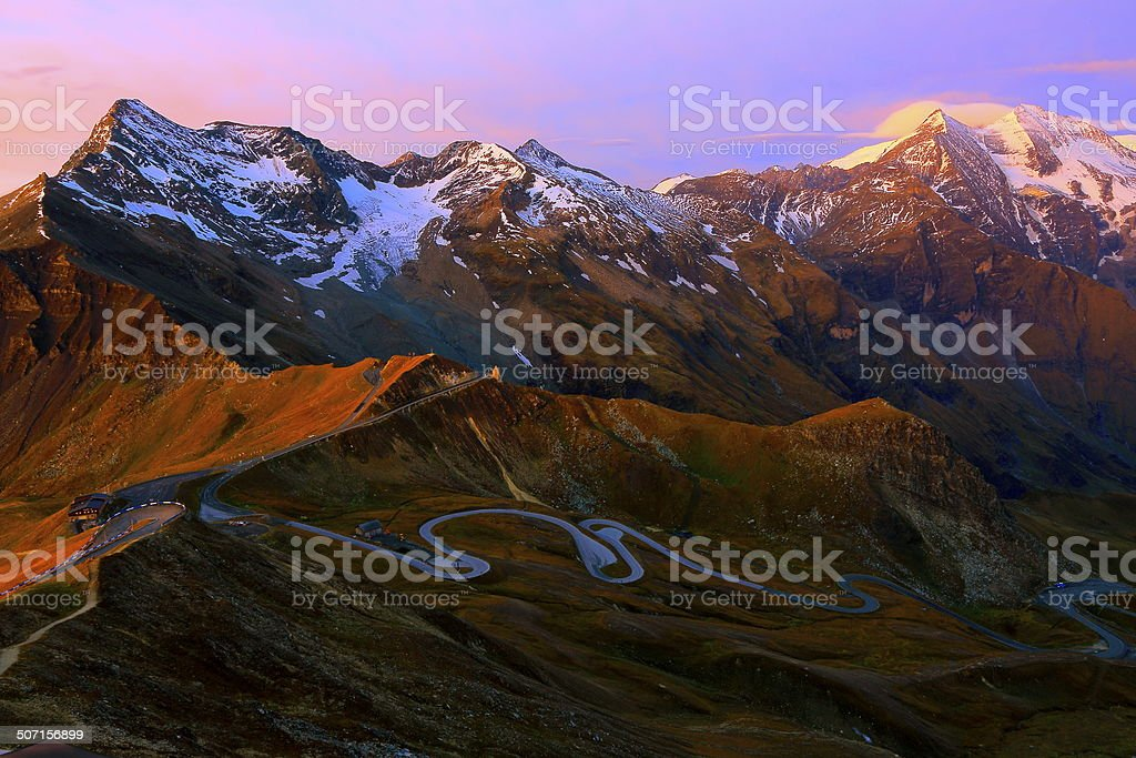 Hohe Tauern alps at sunrise - Grossglockner alpine road, Austria stock photo