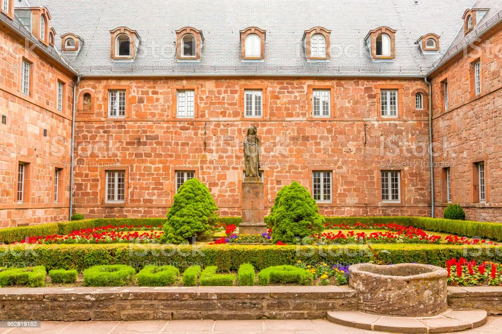 Hohenburg Abbey at Mont Sainte-Odile in the Vosges mountains in Alsace, France. stock photo