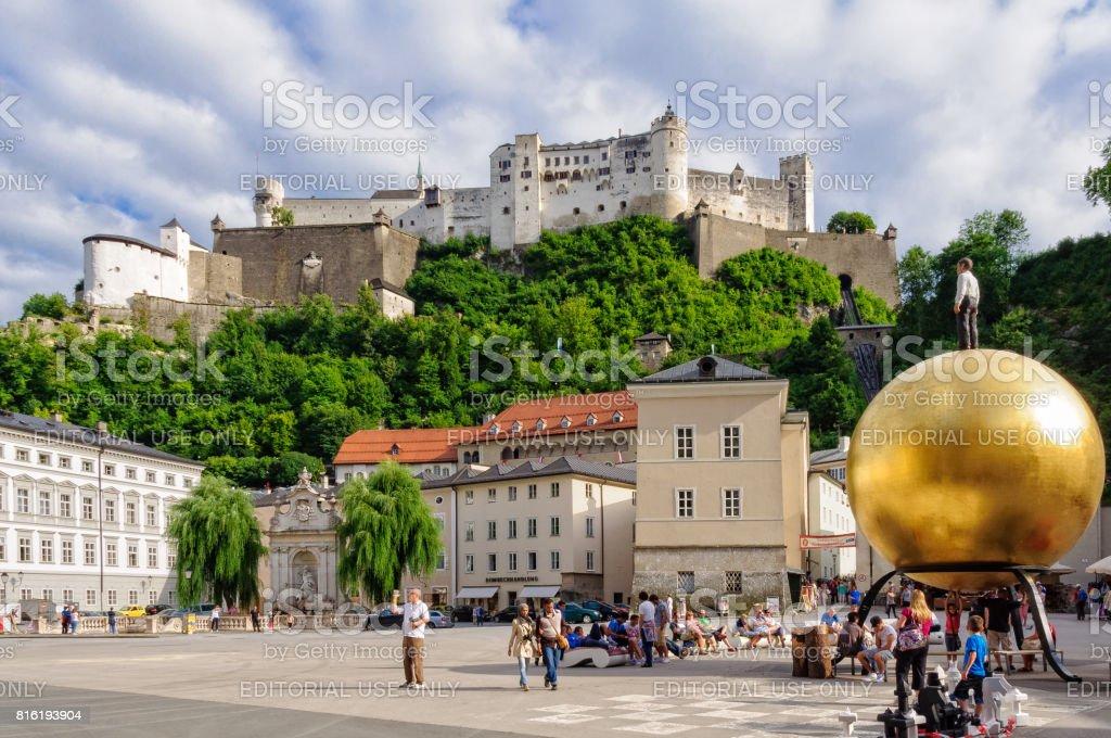 Hohensalzburg Castle and Kapitelplatz - Salzburg stock photo
