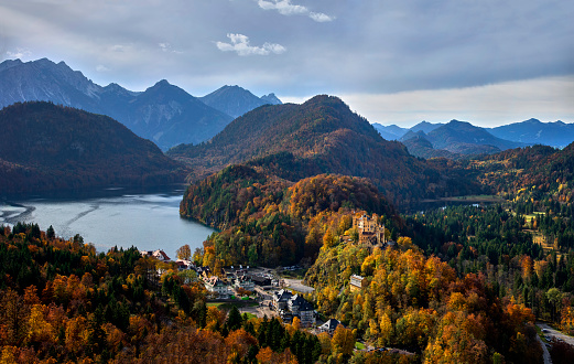 Hohenschwangau Castle and autumn trees.