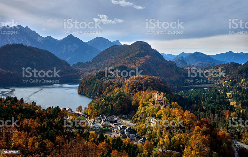Hohenschwangau Castle and autumn trees. stock photo