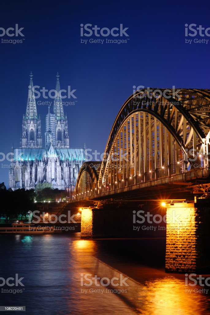 Hohenzollern Bridge and Cathedral at Night royalty-free stock photo