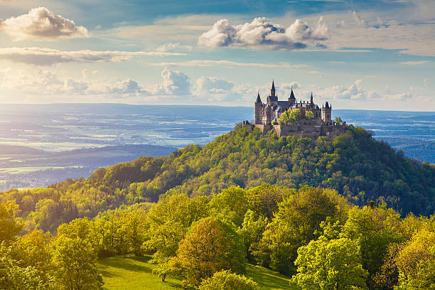 Hohenzollern Castle at sunset, Baden-Wurttemberg, Germany stock photo