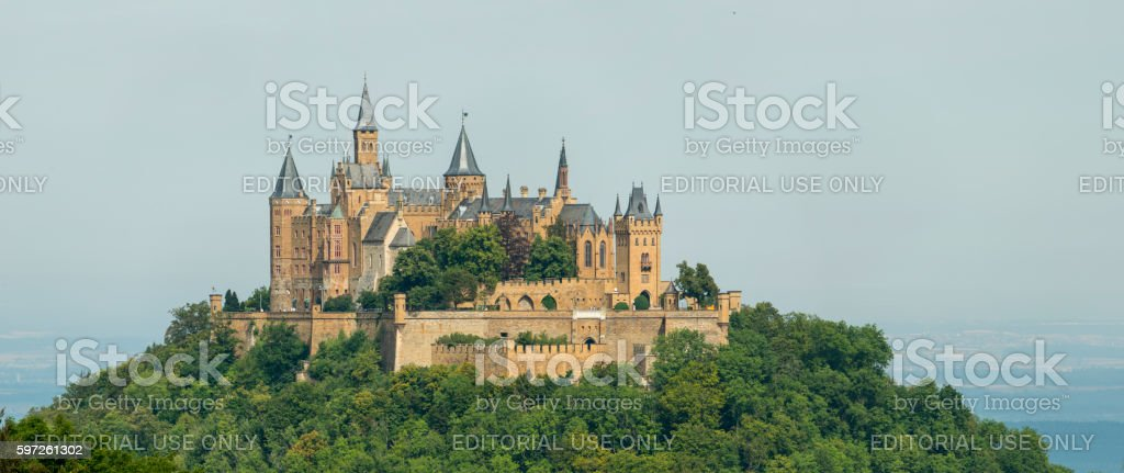 Hohenzollern castle atop Berg Hohenzollern in the Swabian Alps foothills. stock photo