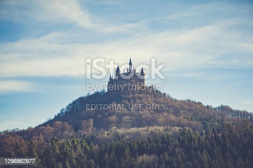 hechingen, germany - December 26, 2009: Aerial view of famous Hohenzollern Castle, ancestral seat of the imperial House of Hohenzollern and one of Europe's most visited castles, in Baden-Wurttemberg, Germany.