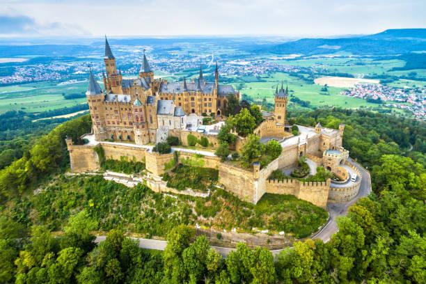 Hohenzollern Castle on mountain, Germany stock photo