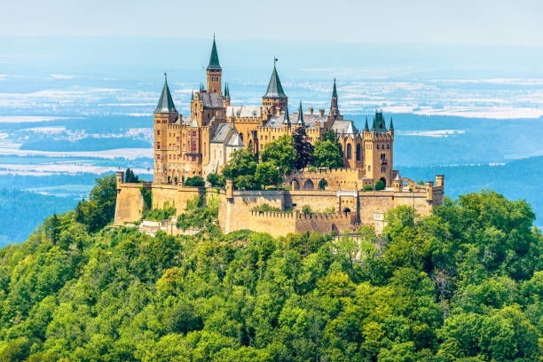 Hohenzollern Castle on mountain top, Germany stock photo