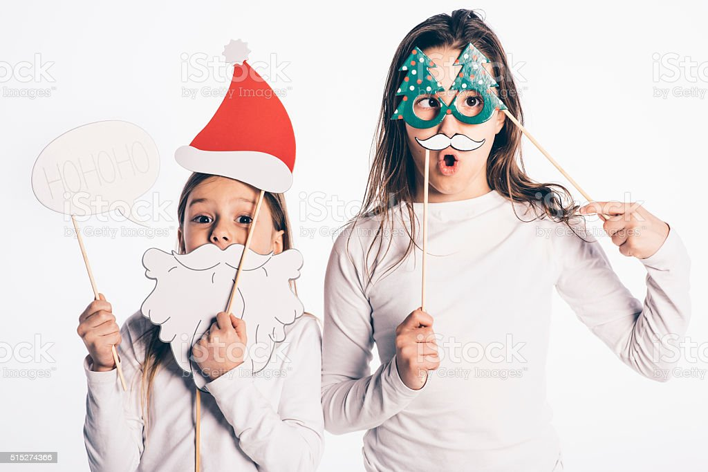 Hohoho, look, I am Santa Claus! stock photo