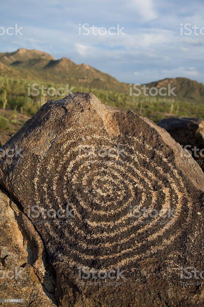 Hohokam Petroglyph royalty-free stock photo