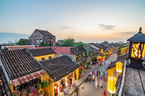 Hoi An ancient town at sunset Hoi An ancient town at sunset hanoi stock pictures, royalty-free photos & images