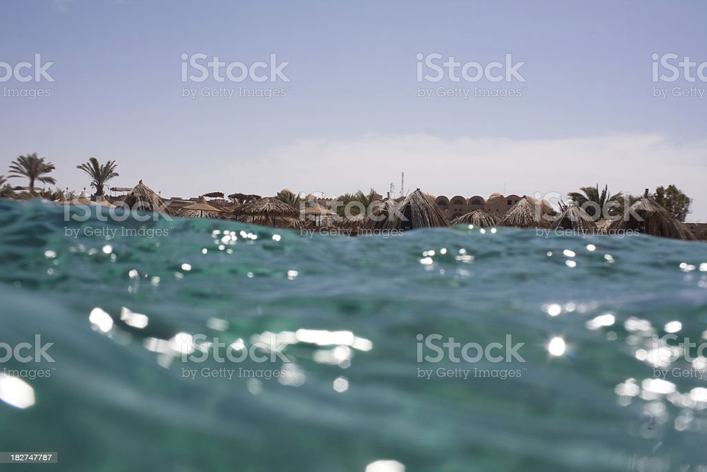 Hoilday resort seen from the sea stock photo