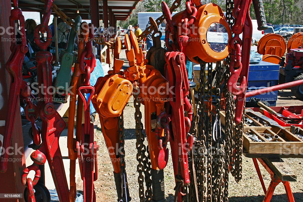 Hoist and chains. stock photo