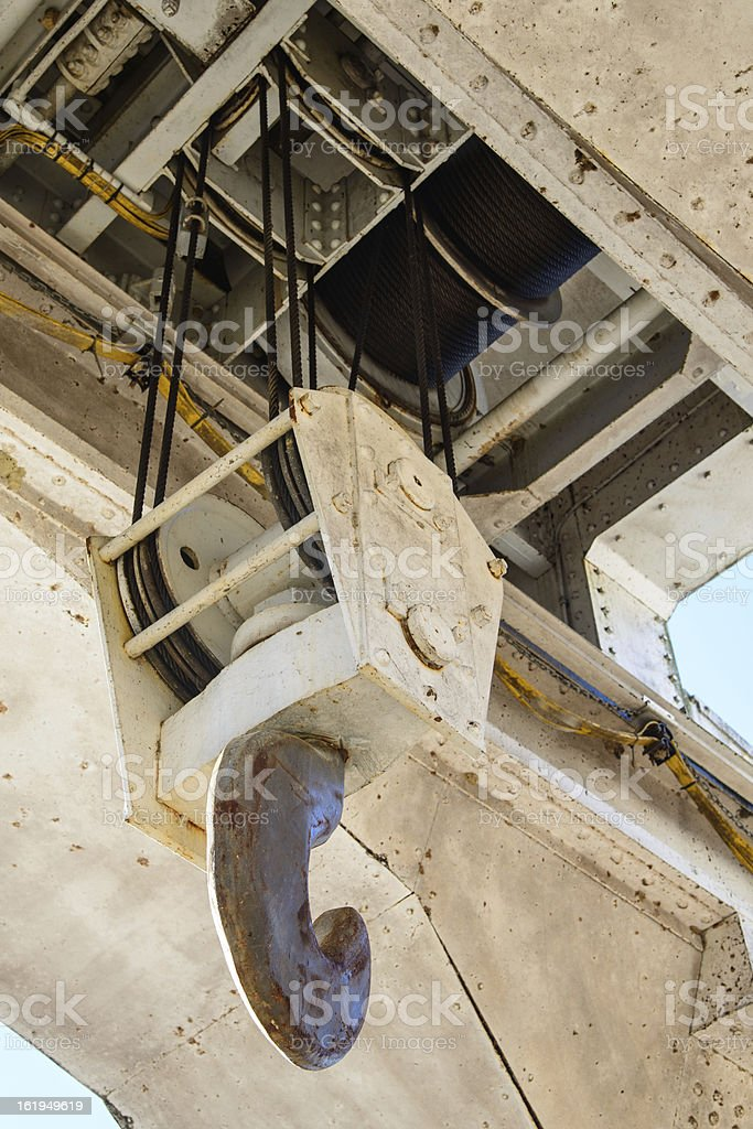 Hoist assembly of an overhead crane stock photo