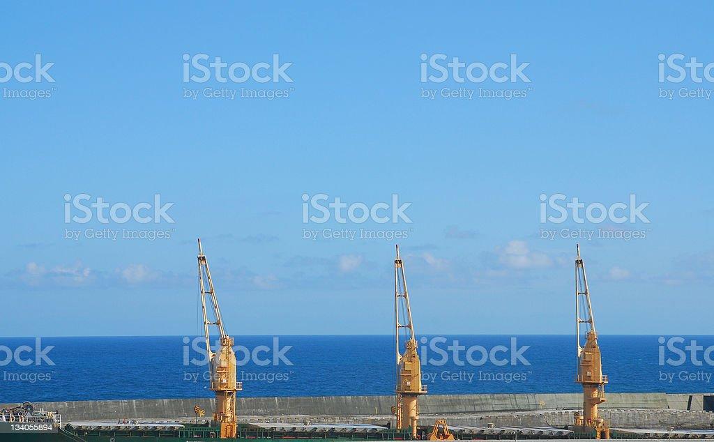 Hoist,crane,derrick,for business harbor. stock photo
