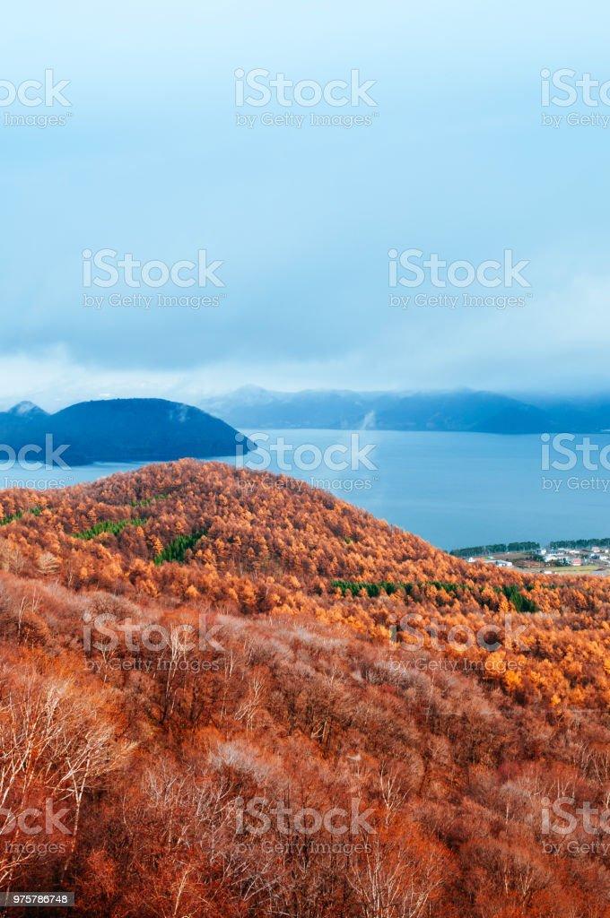 Hokkaido-Usuzan Berg-Wald und See Toya im Urly Winter mit Herbst Laub gelb Baum, Luftbild - Lizenzfrei Asien Stock-Foto