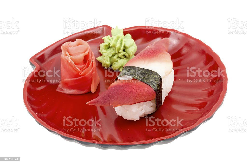 Hokkigai Mollusc sushi on white background stock photo