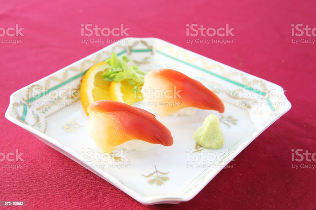 hokkigai nigiri stock photo