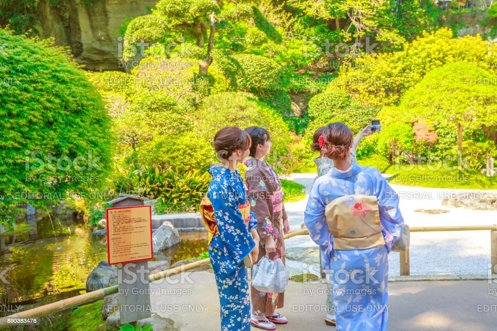 Hokoku-ji selfie in kimono stock photo