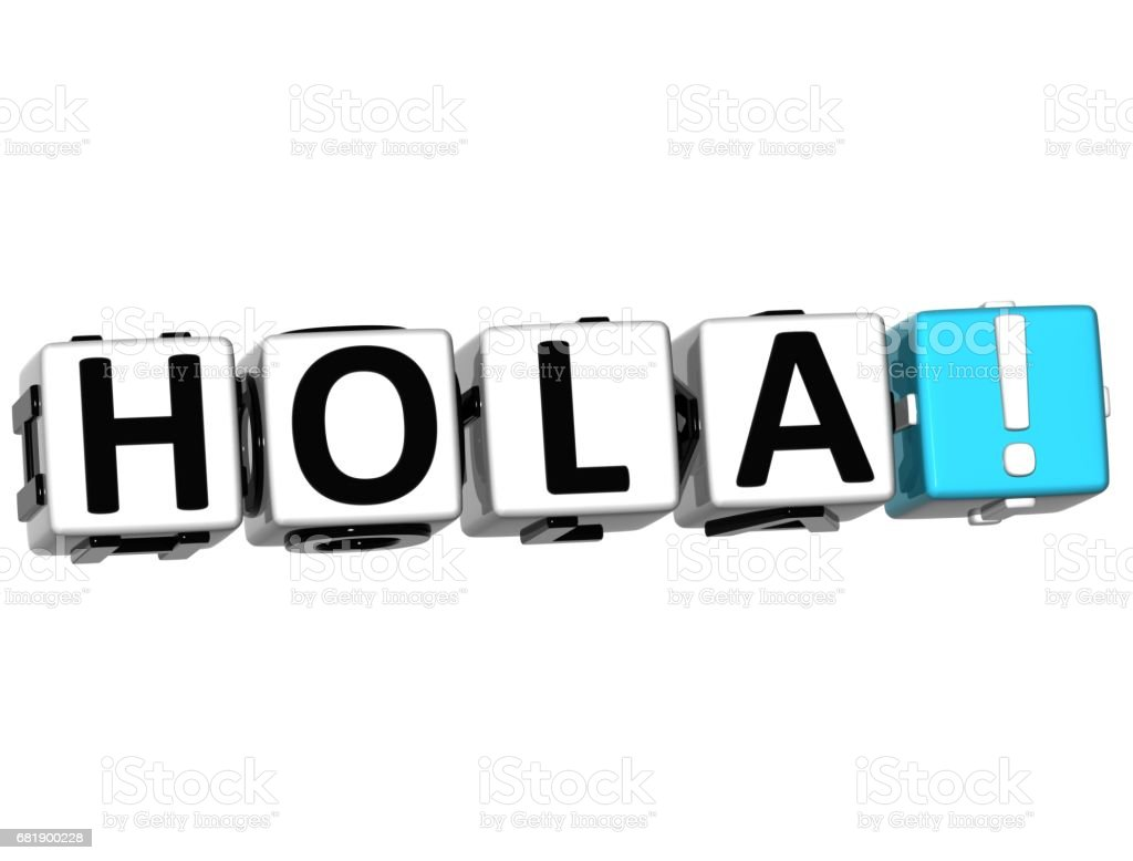 3D Hola block text on white background stock photo