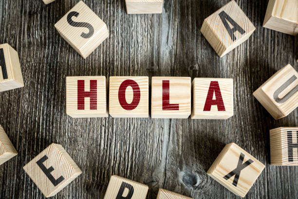 Hola - Spanish Language for Hello stock photo