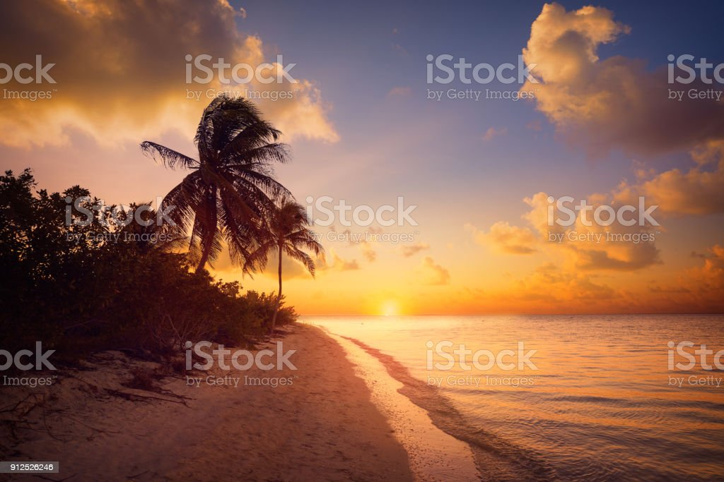 Holbox island sunset beach Mexico stock photo