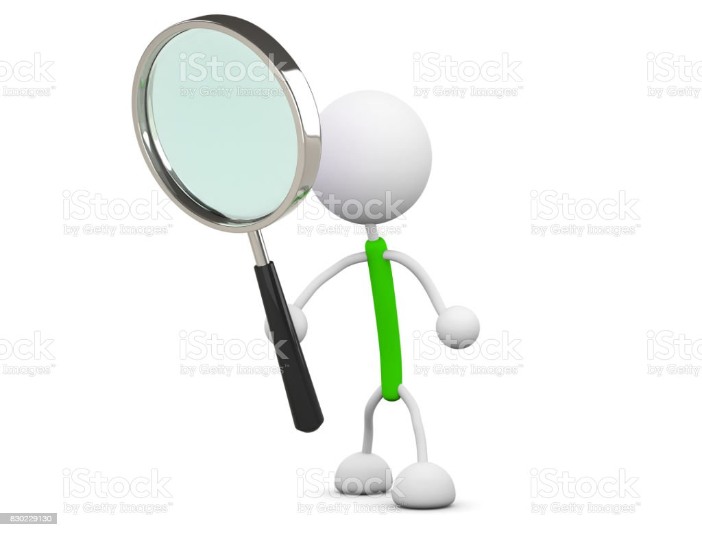 Hold a magnifying glass stock photo