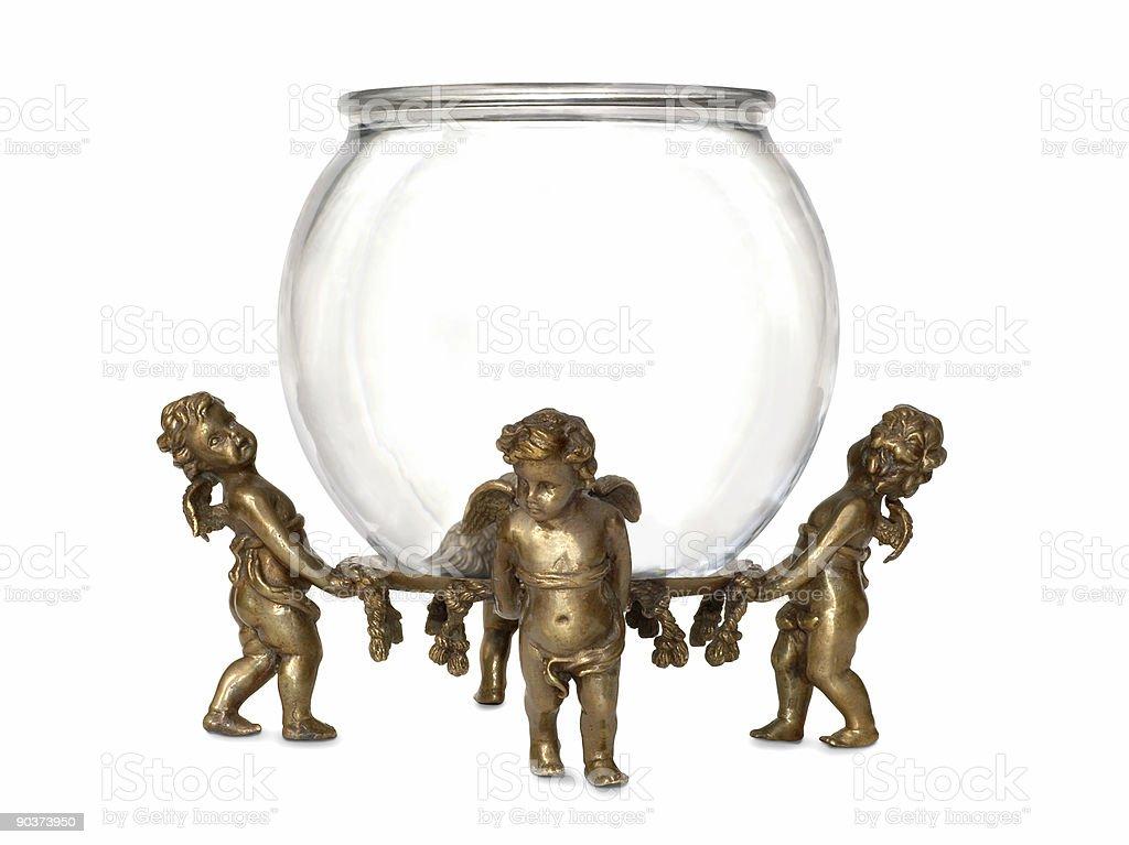 Hold Anything, Angels Cherub Stand w/ Fish Bowl Vase royalty-free stock photo
