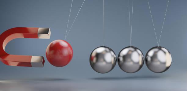 halten Sie eine Kugel mit einem Magnet 3D-Illustration zurück – Foto