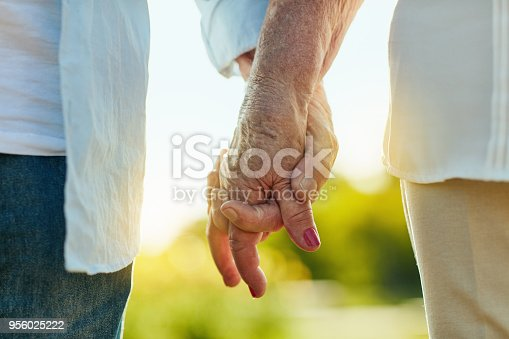 Cropped shot of a senior couple holding hands in a park
