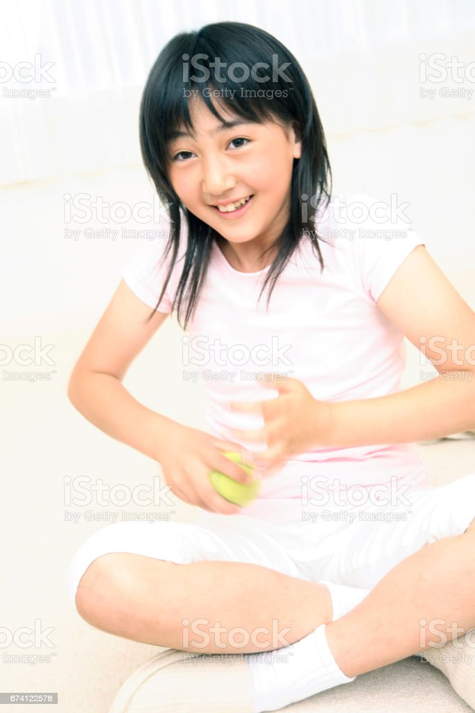 Hold the ball girl royalty-free stock photo