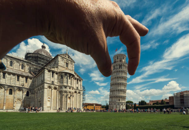 Hold the Pisa Tower stock photo