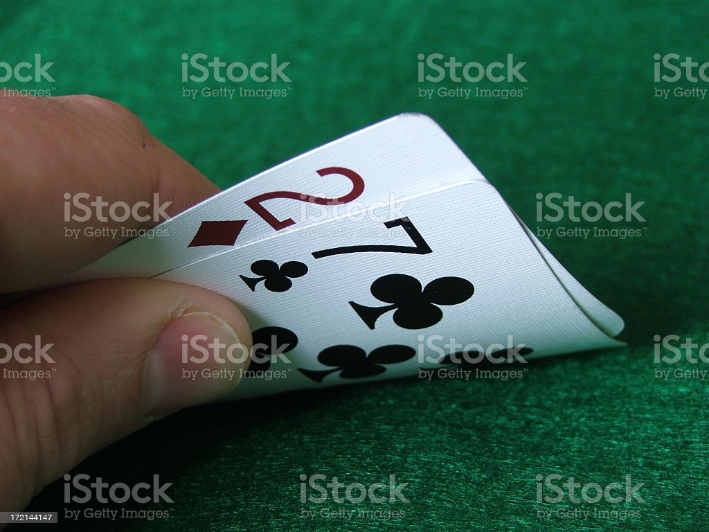 Hold'em: 2,7 Off-suit royalty-free stock photo