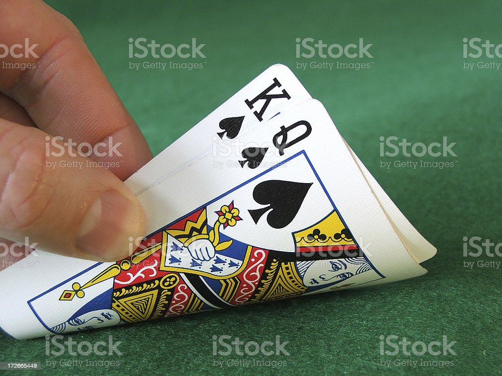 Hold'em- King Queen (Spades) royalty-free stock photo