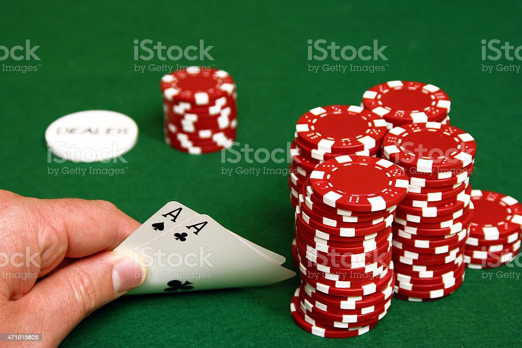 Hold'em- Pocket Rockets on the Button stock photo