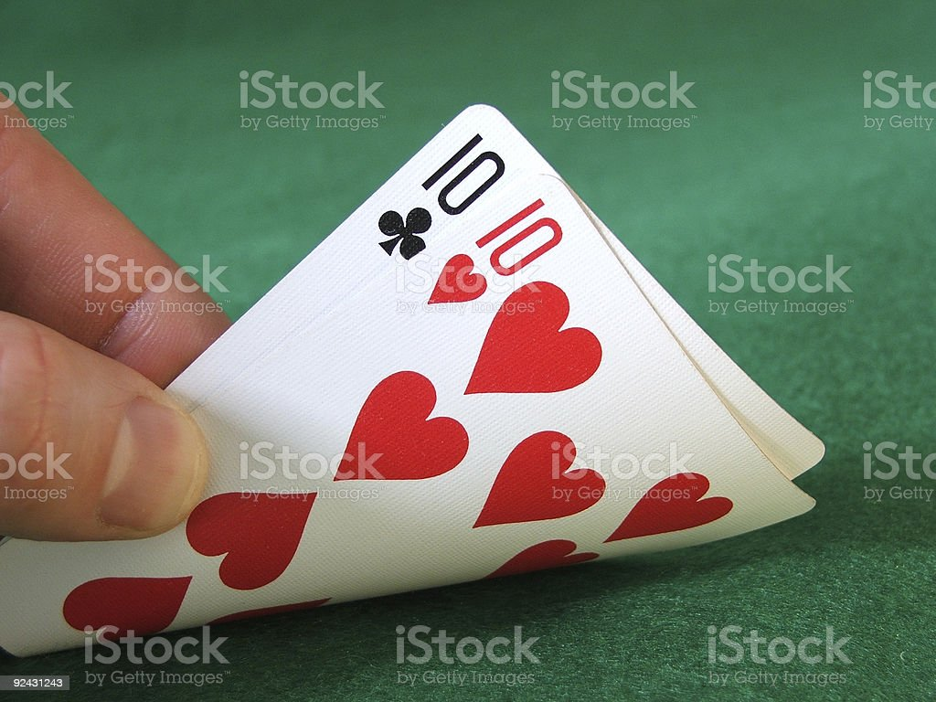 Hold'em- Pocket Tens stock photo