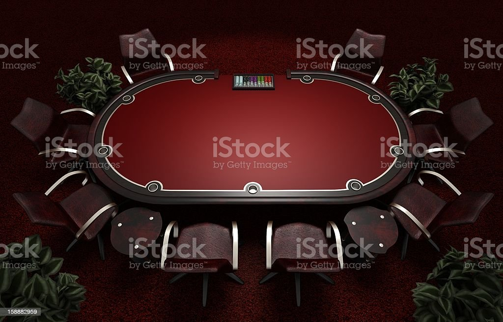 Holdem Poker table with chairs stock photo