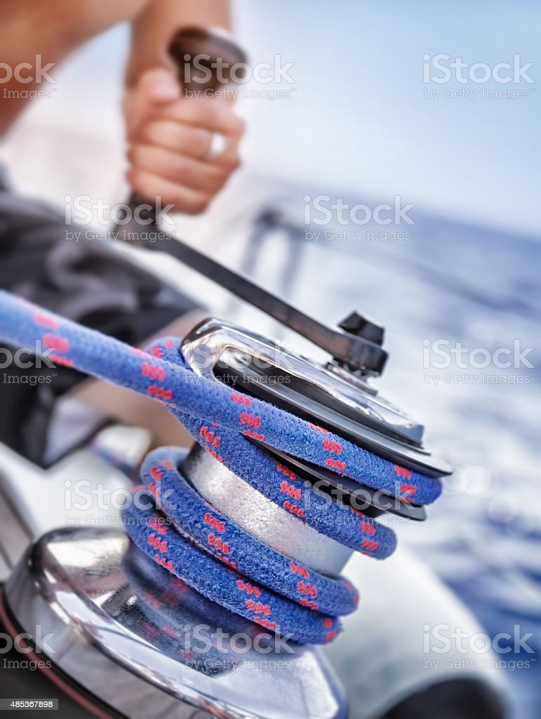 Holder of rope on sailboat stock photo