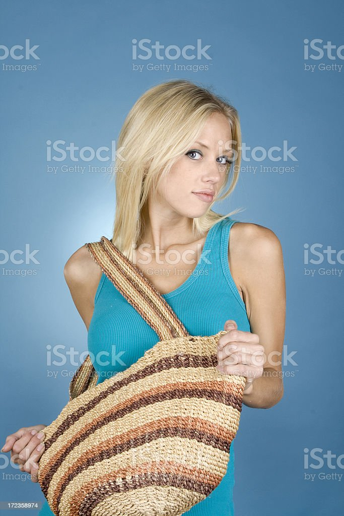 Holding a Bag royalty-free stock photo
