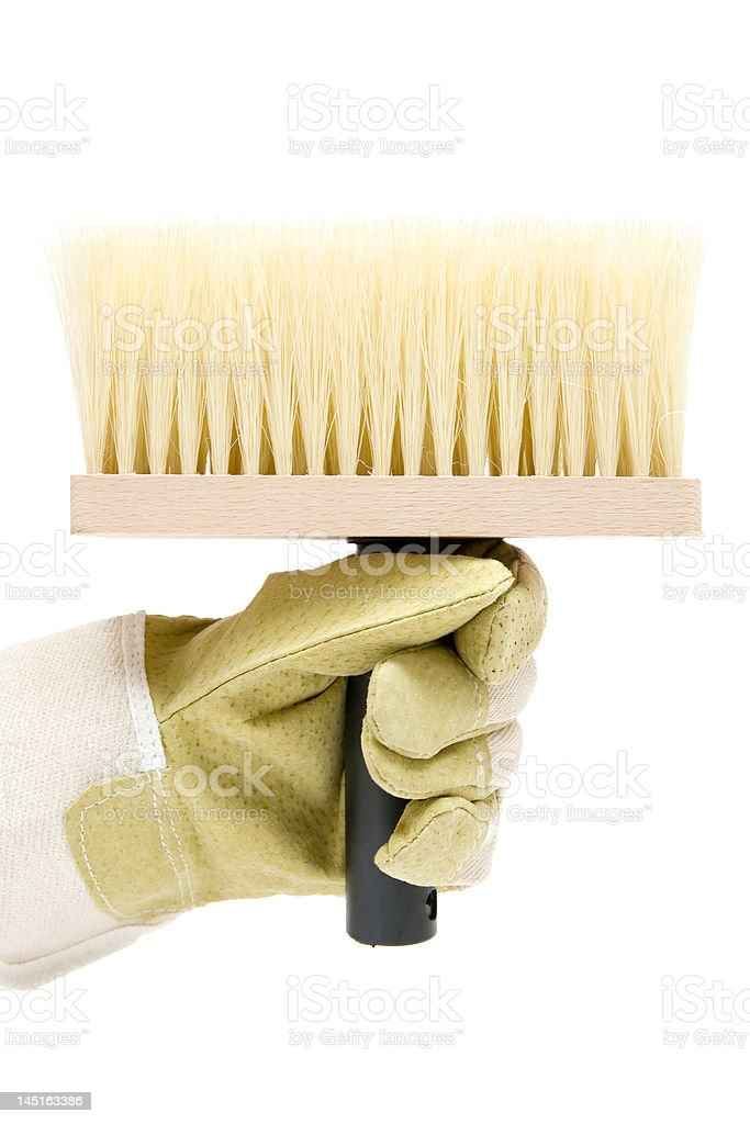 Holding a Big Brush royalty-free stock photo