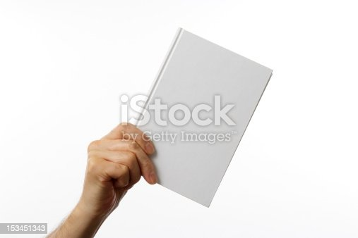 Holding a blank book for your copy text against white background.