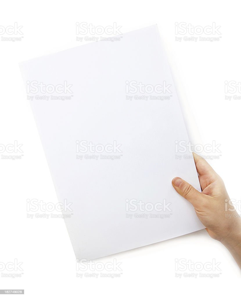 Holding a Blank White document stock photo