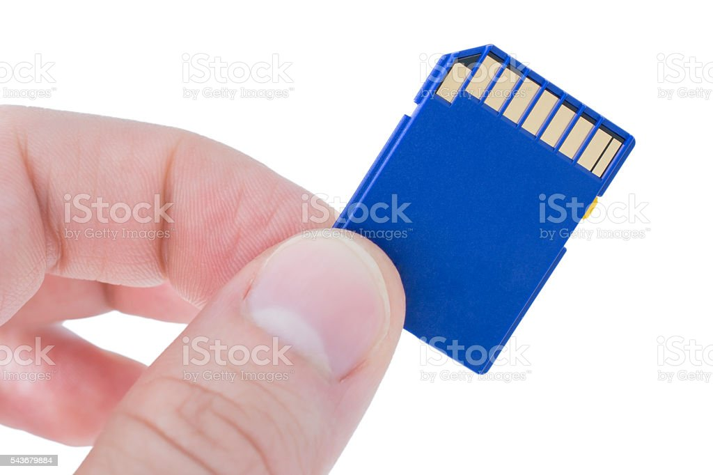 Holding a blue memory card stock photo