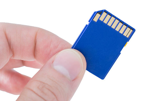 holding a blue memory card - memory card stock photos and pictures