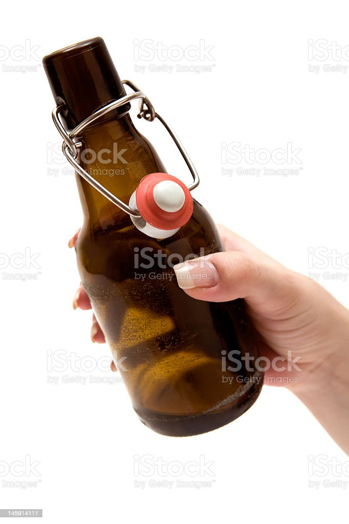 Holding a Bottle of Beer royalty-free stock photo