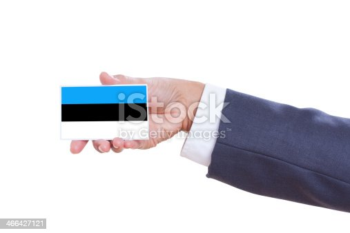 istock holding a  card with Estonia Flag 466427121