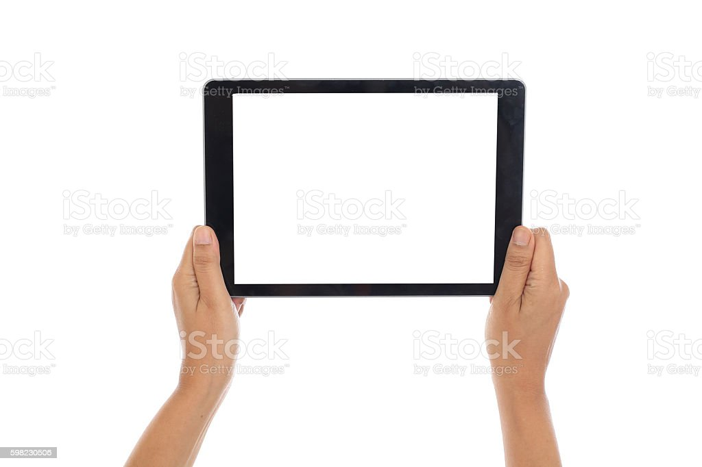Holding a digital tablet computer against white with blank screen foto royalty-free