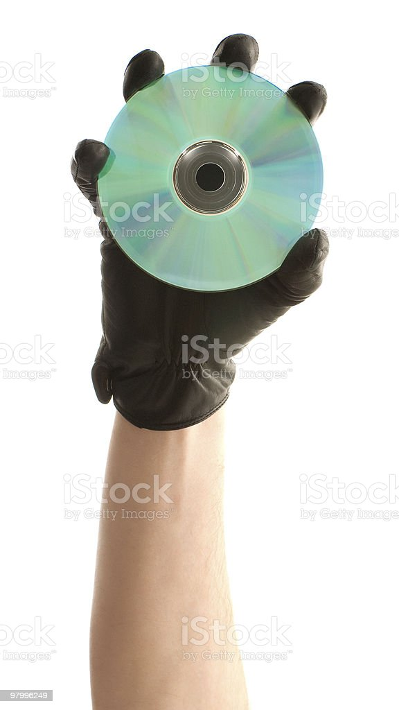 Holding a disk royalty-free stock photo