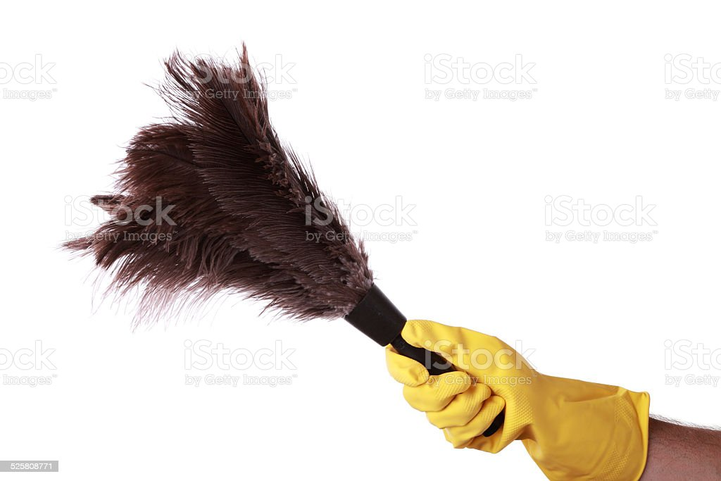 Holding a duster royalty-free stock photo